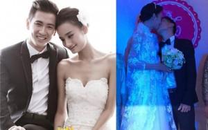 """Người mẫu - Hoa hậu - Chú rể Khải An """"vất vả"""" hôn cô dâu Lê Thúy"""