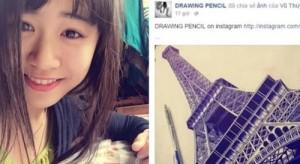 Bạn trẻ - Cuộc sống - Nữ sinh Việt vẽ tháp Eiffel bằng bút bi gây sốt