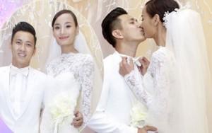 Vợ chồng Lê Thúy hôn nhau say đắm trước quan khách