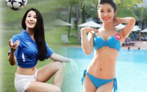 """Người mẫu - Hoa hậu - 4 fan bóng đá """"hot"""" nhất showbiz Việt"""