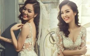 Á hậu Thụy Vân e ấp thềm ngực trong váy cô dâu