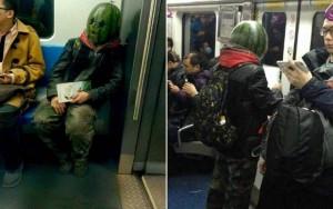 8X + 9X - Thanh niên chơi trội đội mũ dưa hấu đi tàu điện ngầm