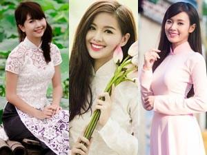 Bạn trẻ - Cuộc sống - Hot girl Việt đọ sắc trong tà áo dài truyền thống