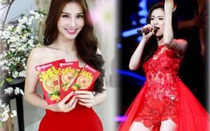 Thời trang - Đầu xuân ngắm sắc đỏ nồng nàn trên váy mỹ nữ Việt