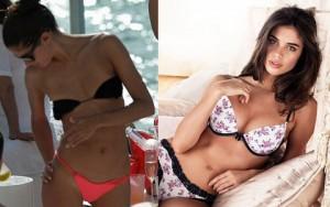 """Người mẫu - Hoa hậu - Người mẫu nội y lộ vòng 1 """"lép kẹp"""" vì bikini nhỏ xíu"""