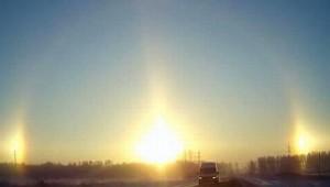 """Video clip chuyện lạ - Video: """"3 mặt trời"""" xuất hiện cùng lúc tại Nga"""