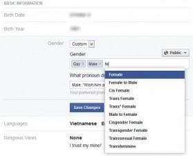 Thủ thuật - Tiện ích - Facebook cho người dùng nhập giới tính bất kỳ