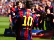 Bóng đá Tây Ban Nha - Con trai Messi khóc ròng vì bị cha ép chụp ảnh