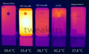 HTC One M9 nóng rực khi so sánh nhiệt với smartphone khác