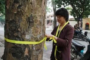 Bạn trẻ - Cuộc sống - Giới trẻ Hà Thành thắt nơ bảo vệ cây trên phố