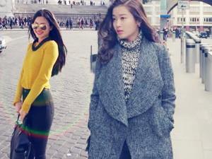 Thời trang - Huyền My, Diễm Trang khoe street style ấn tượng ở trời Tây