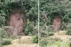 Phi thường - kỳ quặc - Gương mặt Chúa Jesus xuất hiện sau vết lở núi