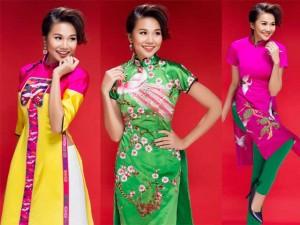 Thời trang - Siêu mẫu Thanh Hằng nhí nhảnh với áo dài cách điệu