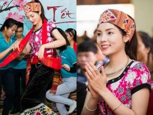 Thời trang - Hoa hậu Kỳ Duyên mặc trang phục dân tộc Thái nhảy sạp