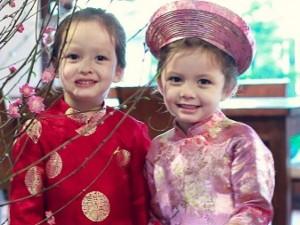 'Công chúa lai' nhà Hồng Nhung rực rỡ áo dài đón Tết