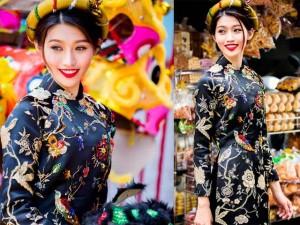 Thời trang - Quỳnh Châu đẹp rạng rỡ với áo dài truyền thống