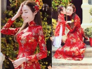 Thời trang - Elly Trần lần đầu chụp ảnh đón Tết cùng con gái