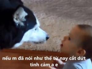 Bạn trẻ - Cuộc sống - Màn 'cãi nhau tay đôi' đáng yêu giữa bé và chó cưng
