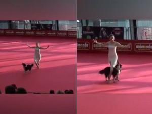 Bạn trẻ - Cuộc sống - Clip: Chó cưng phụ múa bale cực yêu cùng gái đẹp