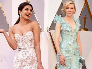 Váy hở vai, cổ V gợi cảm phủ kín thảm đỏ Oscar