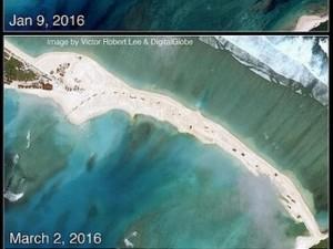 Thế giới - Trung Quốc đắp đất nổi trái phép nối 2 đảo ở Hoàng Sa