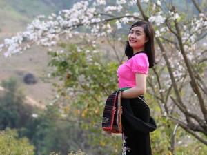 Bạn trẻ - Cuộc sống - Thiếu nữ Thái e ấp bên hoa ban rừng tháng 3