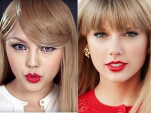 """Cô gái Hàn  """" biến hình """"  thành Taylor Swift trong 6 phút"""