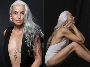 Thời trang - 60 tuổi, siêu mẫu tóc bạc vẫn tự tin quảng cáo đồ bơi