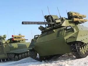 Thế giới - Video: Tăng robot Uran-9 của Nga khoe tài chiến đấu