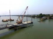 Video An ninh - Cận cảnh ngày đầu trục vớt cầu Ghềnh bị sập