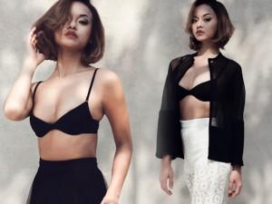 """Người mẫu - Hoa hậu - Quỳnh Mai """"siêu vòng 3"""" nóng bỏng với nội y đen"""
