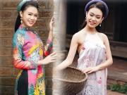 """"""" Cô gái vàng """"  Hoa hậu VN diện yếm thắm hóa nàng Xuân"""