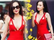 """Dương Yến Ngọc  """" hở bạo """"  đỏ rực phố hoa Sài Gòn"""