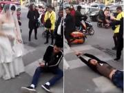 Bạn trẻ - Cuộc sống - Chú rể bị cô dâu buộc xích lôi xềnh xệch trên phố