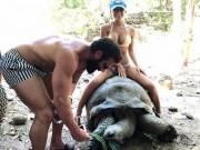 Thế giới - Cô gái Mỹ mặc bikini cưỡi rùa khổng lồ 100 tuổi gây sốc
