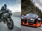 Kawasaki Ninja H2R  bạo gan  so kè Bugatti Veyron