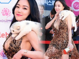 Thời trang - Sao Hàn gợi cảm, bế mèo bông lên thảm đỏ