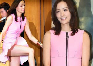 Bà xã Kwon Sang Woo hớ hênh vì váy ngắn