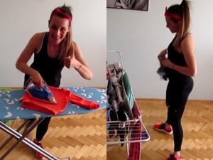 Bạn trẻ - Cuộc sống - Bà mẹ trẻ vừa tập thể dục, vừa lau nhà, là quần áo