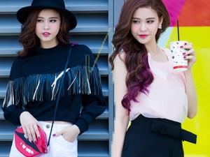 Thời trang bốn mùa - Trương Quỳnh Anh đeo túi môi đáng yêu xuống phố