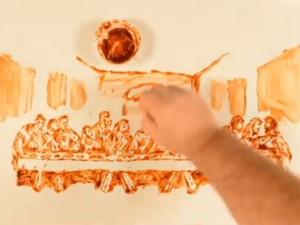 Bạn trẻ - Cuộc sống - Bức tranh độc đáo được làm từ khoai tây và sốt cà chua