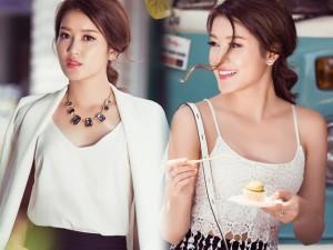 Người mẫu - Hoa hậu - Huyền My xinh tươi với váy ngắn, áo dây xuống phố