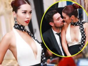 Người mẫu - Hoa hậu - Hà Anh mặc xẻ trước hở sau, quấn quít chồng sắp cưới