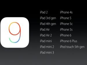 """Sản phẩm mới - 15 thiết bị sẽ được """"lên đời"""" iOS 9, dung lượng 1,3GB"""
