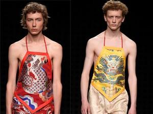 Thời trang - Áo yếm nữ gây sốc trên sàn diễn thời trang nam