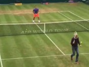 """Clip Đặc Sắc - Federer """"đứng hình"""" vì cú tweener của nhà báo"""