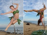Bạn trẻ - Cuộc sống - Gái trẻ mặc bikini lá dong múa cột giữa biển