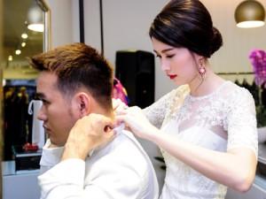 """Thời trang - Hoa hậu Thu Thảo chăm sóc người đàn ông """"lạ"""""""