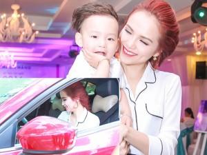 Diễm Hương lái xế hộp tiền tỷ chở con trai đi sự kiện