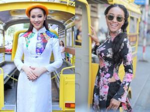 Maya, Đoan Trang điệu đà diện áo dài xưa ra mắt phim mới